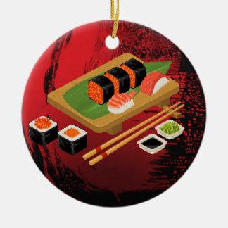 Chic Modern Elegant Black & Red Sushi Ceramic Ornament