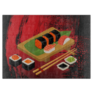 Chic Modern Elegant Black & Red Sushi Cutting Board