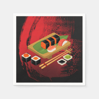 Chic Modern Elegant Black & Red Sushi Party Event Disposable Napkins