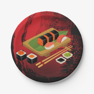 Chic Modern Elegant Black & Red Sushi Party Event Paper Plate