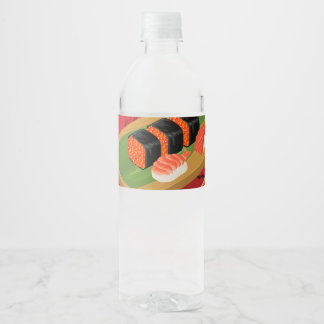 Chic Modern Elegant Black & Red Sushi Party Event Water Bottle Label