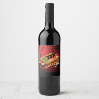 Chic Modern Elegant Black & Red Sushi Party Wine Wine Label