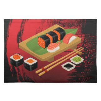 Chic Modern Elegant Black & Red Sushi Placemat