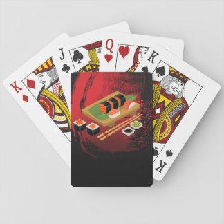 Chic Modern Elegant Black & Red Sushi Playing Cards