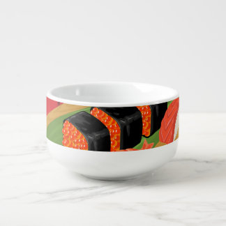 Chic Modern Elegant Black & Red Sushi Soup Mug