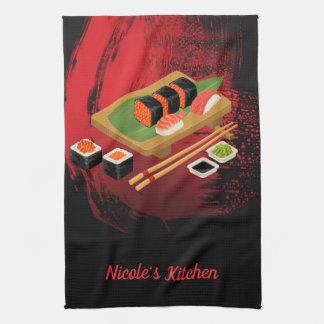 Chic Modern Elegant Black & Red Sushi Tea Towel
