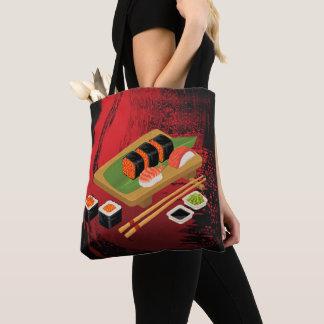 Chic Modern Elegant Black & Red Sushi Tote Bag