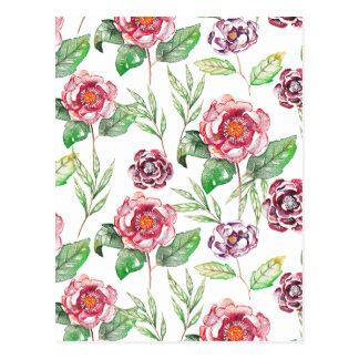 Chic Modern Elegant Floral Watercolor Pattern Postcard