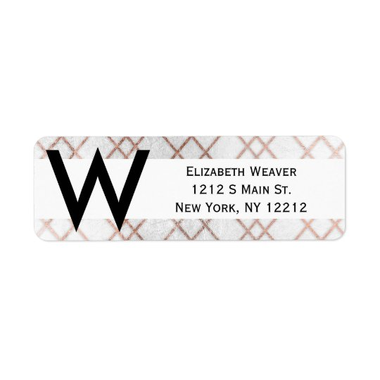 Chic Modern Faux Rose Gold Geometric Triangles Return Address Label