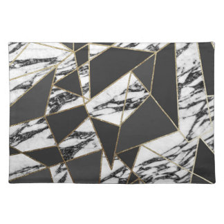 Chic Modern Gold Marble and Black Geometric Placemat