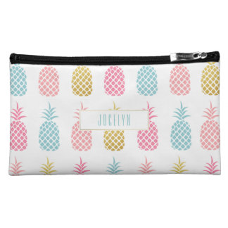 Chic Modern Gold Tropical Pineapple Monogram Bag