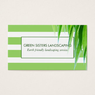 Chic Modern Green & White Stripe Business Card