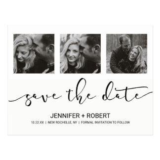 Chic modern  Hand Lettered Save The Date Photo Postcard