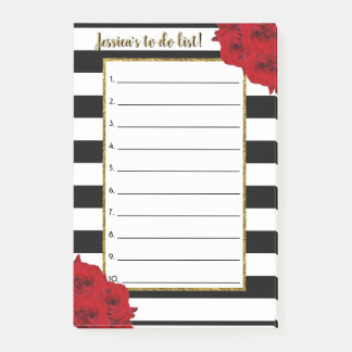 Chic Modern Luxe Red Roses To Do List Post-it Notes