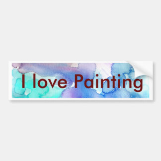 Chic Modern Magenta Blue Teal Abstract Watercolor Bumper Sticker