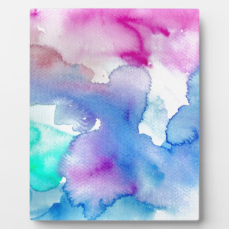 Chic Modern Magenta Blue Teal Abstract Watercolor Photo Plaque