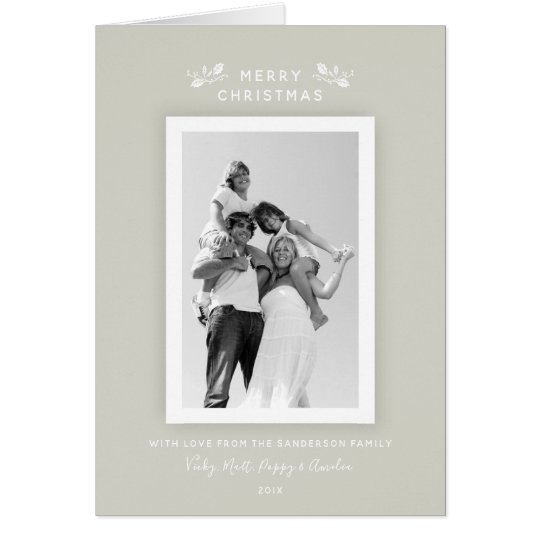 Chic Modern Minimal Beige + White Christmas Photo Card