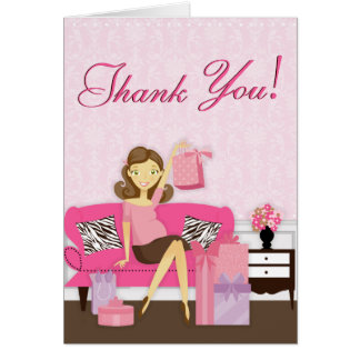 Chic Modern Mom with Gifts Thank You Card