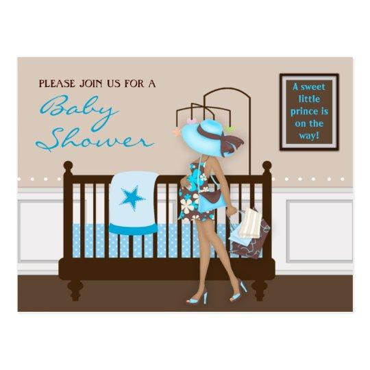 Chic Modern Mum Contemporary Baby Shower Postcard