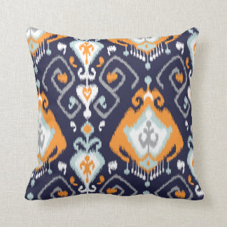 Chic modern orange navy blue ikat tribal pattern cushions