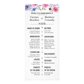 Chic Modern Pink Lavender Floral Wedding Program Rack Card