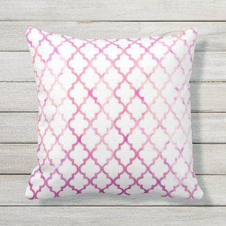 Chic modern pink watercolor quatrefoil pattern cushion