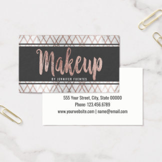 Chic Modern Rose Gold Geometric Makeup Artist Business Card