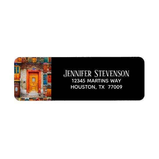 Chic Modern Sophisticated Doors of the World Return Address Label