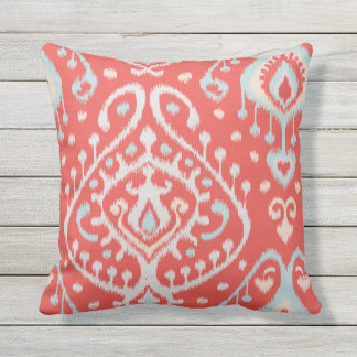 Chic modern teal red girly ikat tribal pattern cushion