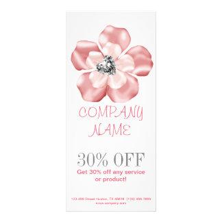 chic modern trendy girly sparkles pink floral custom rack card
