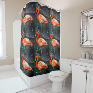 Chic, modern, trendy orange & pink flamingos photo shower curtain