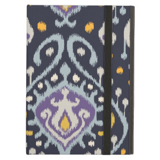 Chic modern yellow blue navy ikat tribal pattern iPad air cover