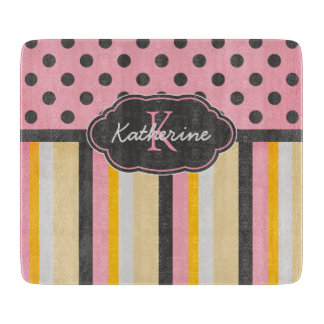 Chic Monogram Chalkboard Stripes and Polka Dots Cutting Board