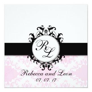 Chic Monogram Initials Pink Damask Wedding Invite