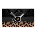 Chic Monogram Leopard Print Hair Stylist Pack Of Standard Business Cards