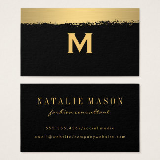 Chic Monogram on Black/Gold Brushed Business Card