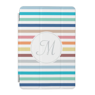 Chic Monogram Pastel Rainbow Horizontal Stripes iPad Mini Cover