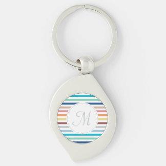 Chic Monogram Pastel Rainbow Horizontal Stripes Silver-Colored Swirl Key Ring