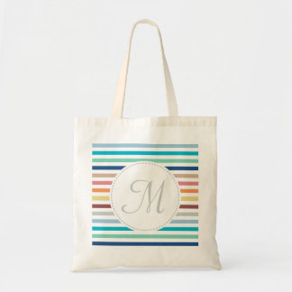 Chic Monogram Pastel Rainbow Horizontal Stripes Tote Bag