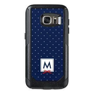 Chic Monogram Red Ribbon Blue Polka Dot OtterBox Samsung Galaxy S7 Case