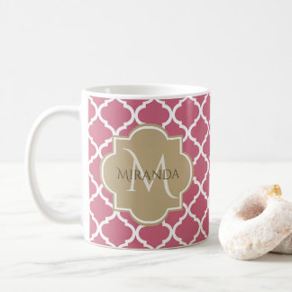 Chic Monogram Rose Pink Tan Quatrefoil and Name Coffee Mug