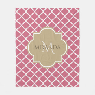 Chic Monogram Rose Pink Tan Quatrefoil and Name Fleece Blanket