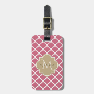Chic Monogram Rose Pink Tan Quatrefoil and Name Luggage Tag
