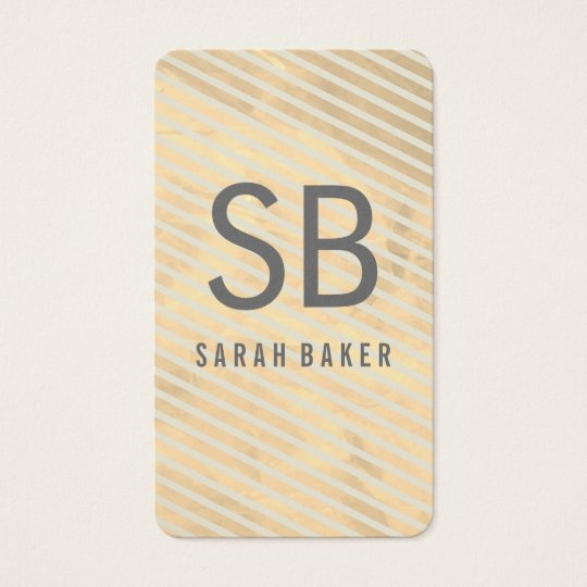 Chic Monogram Stripes Business Card