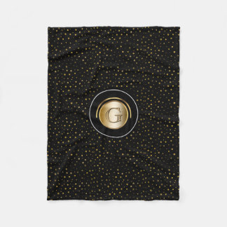 Chic Monogrammed | Modern Black Gold Dots Fleece Blanket