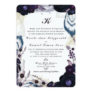 Chic Monogrammed Purple Floral Winter Wedding 13 Cm X 18 Cm Invitation Card