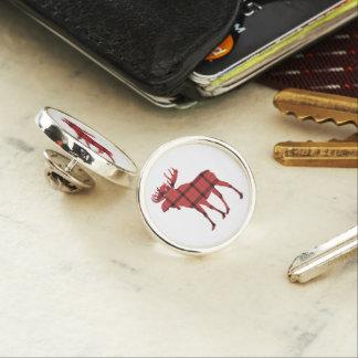 Chic Moose Red and Black Plaid Tartan Pattern Lapel Pin