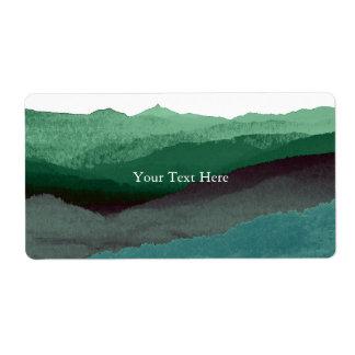Chic Mountian Watercolor | Blue & Green | Custom Shipping Label