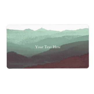 Chic Mountian Watercolor | Blue & Violet | Custom Shipping Label