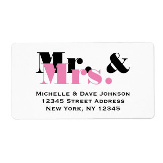 Chic Mr and Mrs address labels for married couple